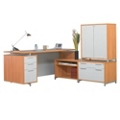Hi-Low L-Desk with Storage Cabinet, 13179