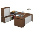Hi-Low U-Desk with Storage Cabinet, 13180