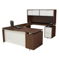 Flush-Top U Desk with Hutch, 13182