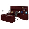 U-Desk with Hutch and Bookcase with Lateral File, 13356