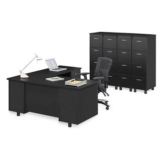 Ascend Right Return L-Desk and Vertical File Storage Wall, 13868