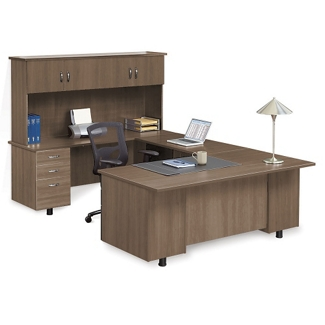 Ascend Left Bridge U-Desk with Hutch, 13873