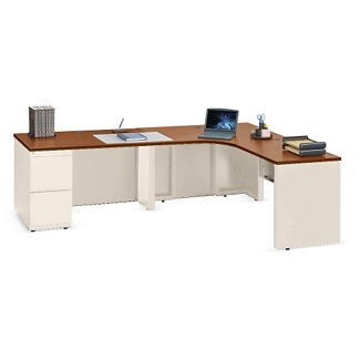 "Alloy Metal L Desk with Left Return and Two Drawers - 72""W, 13907"