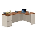 "Alloy Metal Right Hand J-Desk with File Pedestal - 72""W, 13911"