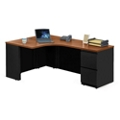 "Alloy Metal Left Hand J-Desk with File Pedestal - 72""W, 13910"