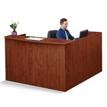 "Solutions Reception L-Desk with Left Return and Short Pedestal - 71""W, 13968"