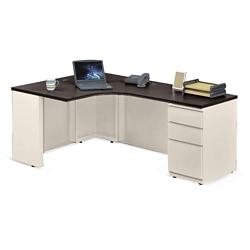 """Alloy Metal Left Hand J-Desk with Pedestal - 72""""W, 14153"""