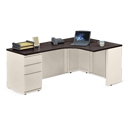 """Alloy Metal Right Hand J-Desk with Pedestal - 72""""W, 14152"""