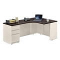 "Alloy Metal Right Hand J-Desk with Pedestal - 72""W, 14152"