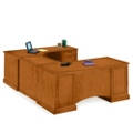 Executive Cherry U-Desk with Right Bridge, 15191