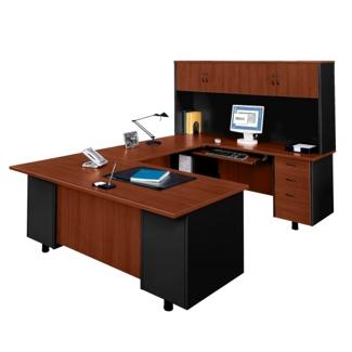U-Desk with Right Bridge and Hutch, 15267