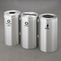 "15"" Diameter Satin Aluminum Connected Recycling and Waste Bins, 85770"
