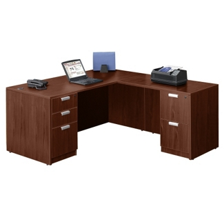 "Contemporary Compact L-Desk - 66"" x 78"", 13072"