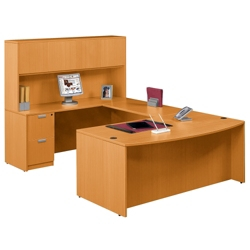 Contemporary Bow Front U-Desk and Hutch, 15778