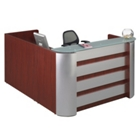 Reception L-Desk with Aluminum Accents and Glass Top, 15994