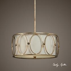 Gold Accent Three Light Drum Pendant, 82598