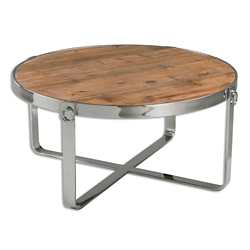 "Solid Fir Wood Coffee Table with Metal Frame - 37.75""DIA, 46241"