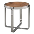 """Solid Fir Wood Side Table with Metal Frame - 23.625""""DIA, 46242"""