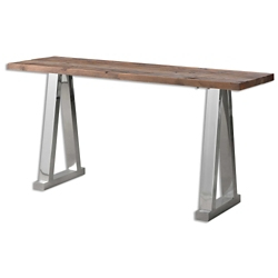 "Solid Fir Wood Console Table with Stainless Steel Legs - 63""W, 46243"
