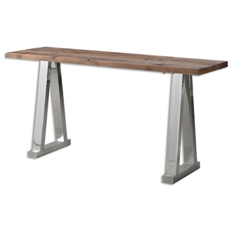 """Solid Fir Wood Console Table with Stainless Steel Legs - 63""""W, 46243"""