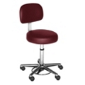 Helix Doctor Stool with Chrome Base and Back Rest, 25058