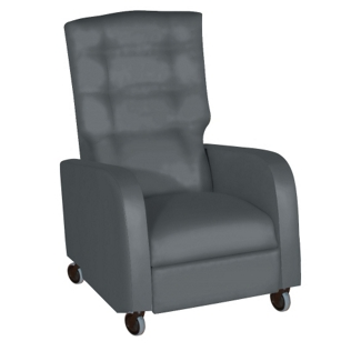 Haley Pillow Back Vinyl Recliner with Central Braking Casters, 25335