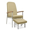 "Wood Arm Vinyl High-Back Guest Chair with Footrest - 24""W Seat, 26057"