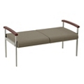 """Wood Arm Vinyl Two Seater Bench - 44.5""""W Seat, 26056"""