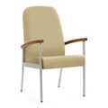 """Wood Arm Vinyl High-Back Guest Chair - 24""""W Seat, 26051"""
