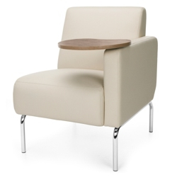 Modular Left Arm Polyurethane Chair with Chrome Legs and Tablet, 75771