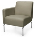 Modular Right Arm Polyurethane Lounge Chair with Chrome Legs, 75772