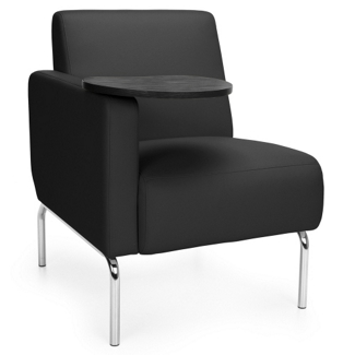 Modular Right Arm Polyurethane Chair with Chrome Legs and Tablet, 75773