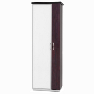 "72""H Five Shelf Glass Door Storage Cabinet With Right Hand Wardrobe, 32978"
