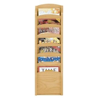 7-Pocket Wood Front Magazine Rack, 33373