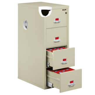 "Four Drawer Fireproof Letter Size Vertical File - 25""D, 34139"