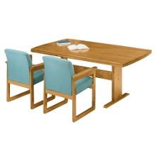 "Rectangular Conference Table with Curved Ends - 96"" x 42"", 40632"