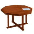 "Solid Oak Octagonal Conference Table - 48""W, 40647"