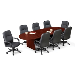 Contemporary 10' Conference Table with 8 Leather Chairs, 40821