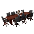 12' Conference Table with 10 Leather Chairs, 40829