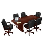 8' Conference Table with Dataports and 6 Leather Chairs, 40832