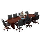 12' Conference Table with Dataports and 10 Leather Chairs, 40833