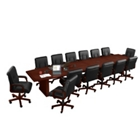 16' Conference Table with Dataports and 14 Leather Chairs, 40834