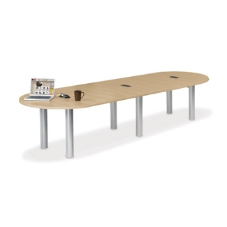 12' W Racetrack Conference Table with Data Ports, 40957