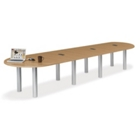 16' W Racetrack Conference Table with Data Ports, 40958