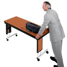 "Adjustable Height Folding Leg Seminar Table - 60"" x 24"", 41197"