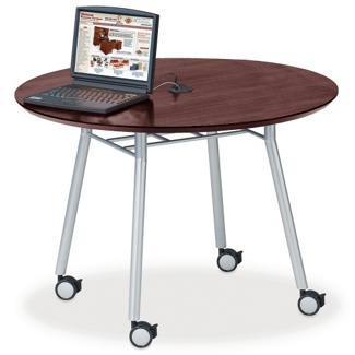 """Mobile 42"""" Round Conference Table with Data Port, 41483"""