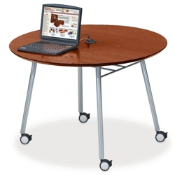 """Mobile 48"""" Round Conference Table with Data Port, 41484"""