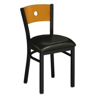 Circle-Back Chair with Wood Back and Black Frame, 44216