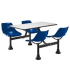 """65"""" Overall Width Stainless Steel Table with Attached Chairs, CD03357"""