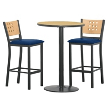 "Cafe au Lait Oversized Stools and 30"" Round Bar Height Table Set, 44608"